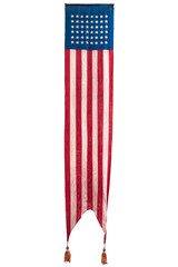 Long vintage hanging American ceremonial flag isolated on white
