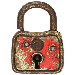 Antique small red metal padlock isolated on white