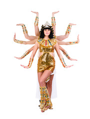 Dancing pharaoh woman wearing a egyptian costume.