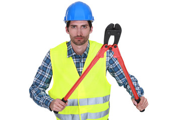 Workers with tongs