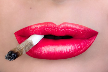 Smoking. Sensual Red Lips