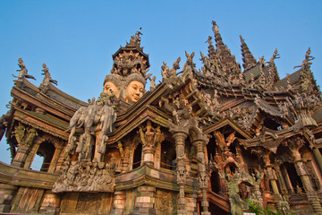 Sanctuary of truth in Chonburi province of Thailand