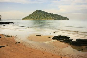 Koh Kon island seeing from Koh Rong Samlon island, Gulf of Thail