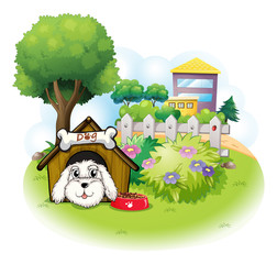 Tuinposter Honden A white puppy inside a doghouse