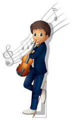 A musician with a violin and musical notes