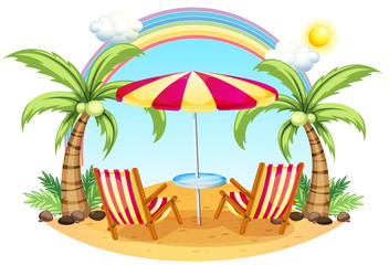 A seashore with a beach umbrella and chairs