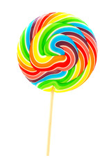 Single multi colored lollipop candy isolated on white