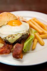 hamburger beef bacon egg and salad
