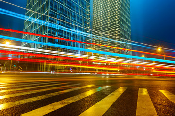 the light trails in shanghai china