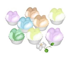 Culorful Thai Steamed Cupcake on White Background