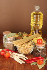 Different types of pasta, spices, tomatoes
