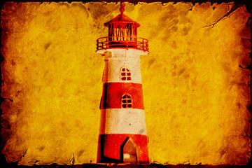 Fond de hotte en verre imprimé Affiche vintage Retroplakat - Gestreifter Leuchtturm