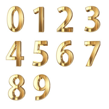 golden numbers isolated with clippign path