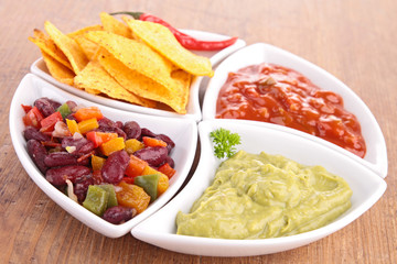 assortment of mexican dips