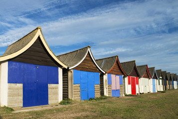 Beach Huts at Mablethorpe, Lincolnshire, UK.
