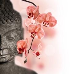 Papiers peints Orchidée Bouddha et orchidée rouge