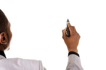 Businessman drawing something abstract