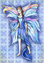 Fairy of water, with expanded wings are on the ground and is a d