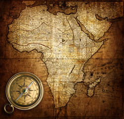Fototapete - compass on vintage map Africa 1737