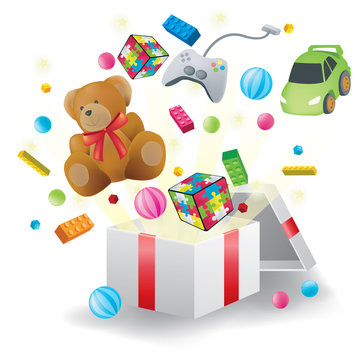 Toys burst from present box with white background