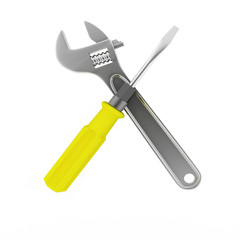 3d wrench and screwdriver