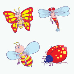 Insect Cartoon Vector Set