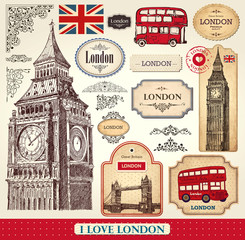 Fotorolgordijn Vintage Poster Vector set of London symbols