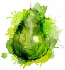 Watercolor green pear