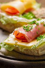 Closeup of spring Fresh sandwich with ham and cheese