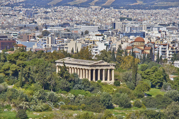 Hephaestus (Vulcan) temple and Athens cityscape, Greece