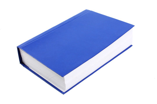 Very thick blue book isolated on white background