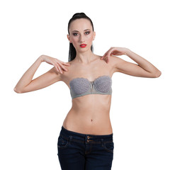 Beautiful sexy topless woman in blue jeans, isolated on white ba