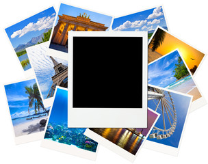 Instant photo frame over traveling pictures isolated on white