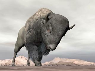 Bison charging - 3D render