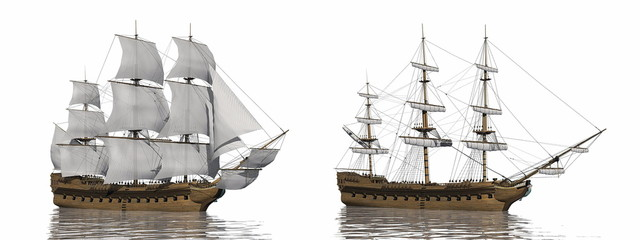 Fotorolgordijn Schip Old merchant ship - 3D render