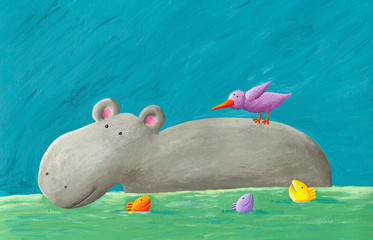 Funny hippo, bird and fishes