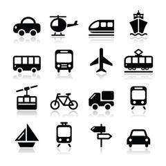 Transport, travel vector icons set isoalted on white