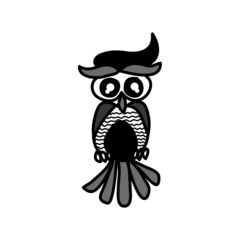 hand drawing cartoon owl character