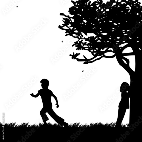Quot Children Playing Hide And Seek In The Park Silhouette