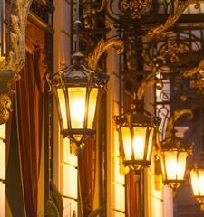 Beautiful street lanterns illuminated at night