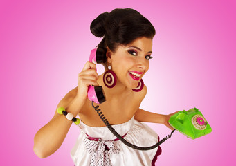 Girl with telephone.