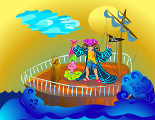 Foto op Plexiglas Piraten pirate boy with mermaid in the sea