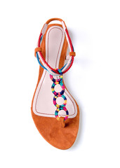Colorful braided and circular ornaments flip flop suede sandal