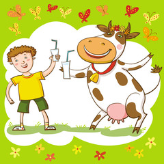 Happy Cow And Boy.