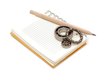 bearings on the blank notebook. copy space for your text