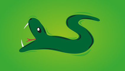 green snake with open mouth on the green background
