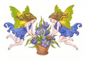 Эльфы с весенними цветами. Акварель. Вариант  2.