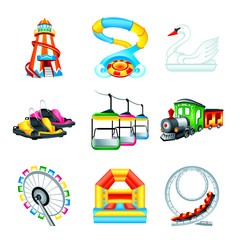 Colorful amusement park or funfair attraction icons