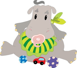 Hippo with toys