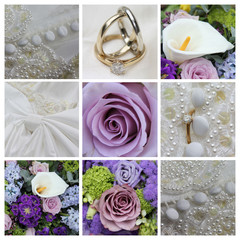 Wedding collage in purple
